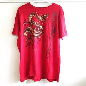 4/20$ MECCA red gold dragon print tshirt